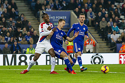 February 23, 2019 - Leicester, England, United Kingdom - Michy Batshuayi of Crystal Palace  tackles Jonny Evans of Leicester City during the Premier League match between Leicester City and Crystal Palace at the King Power Stadium, Leicester on Saturday 23rd February 2019. (Credit Image: © Mi News/NurPhoto via ZUMA Press)