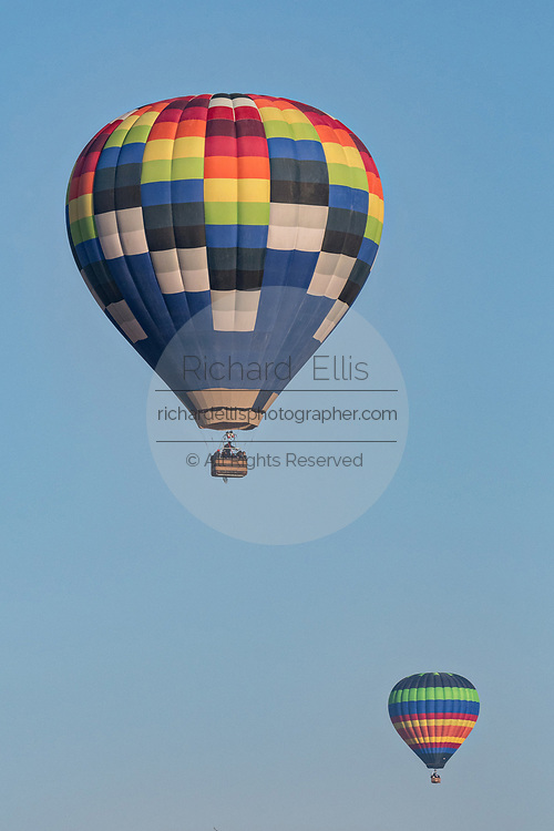 Hot air balloons at sunrise outside the colonial city of San Miguel de Allende, Mexico.