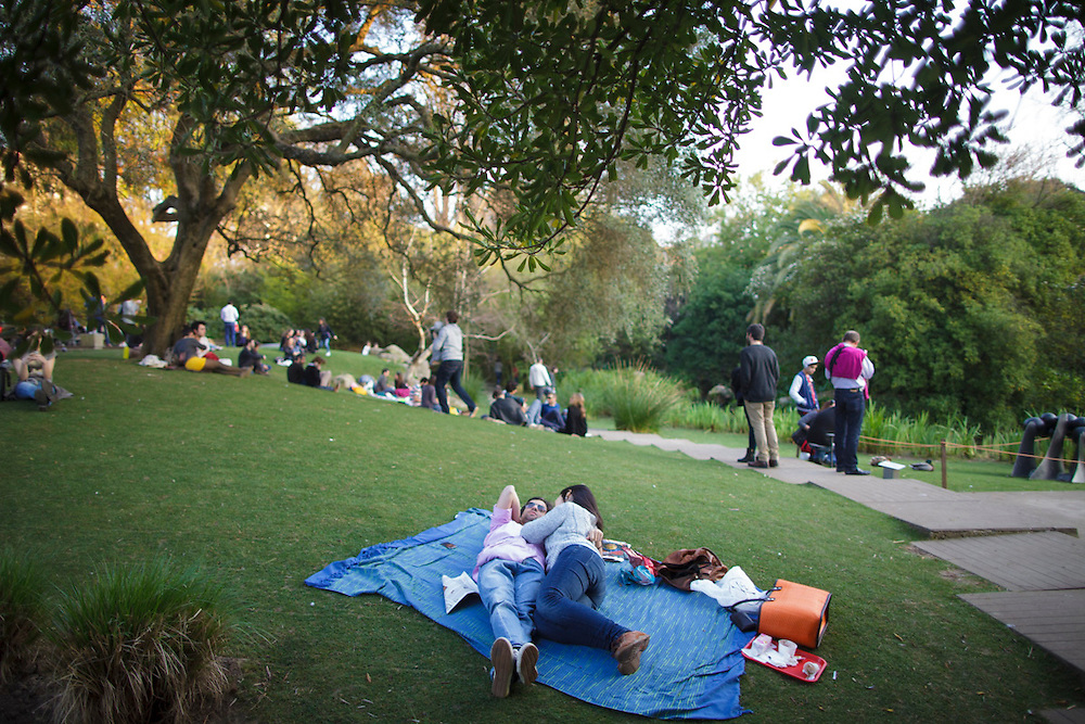 people on the gardens at Gulbenkian Foundation in Lisbon.