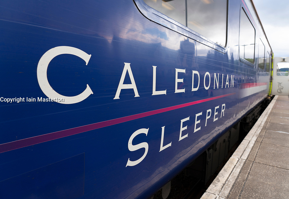 Caledonian Sleeper carriage at Fort William station, Scotland, UK