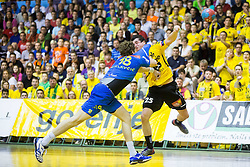David Miklavcic of Celje PL vs Jernej Papez of Gorenje during handball match between RK Gorenje Velenje and RK Celje Pivovarna Lasko in Final match of 1st NLB League - Slovenian Championship 2013/14 on May 23, 2014 in Rdeca dvorana, Velenje, Slovenia. Photo by Vid Ponikvar / Sportida