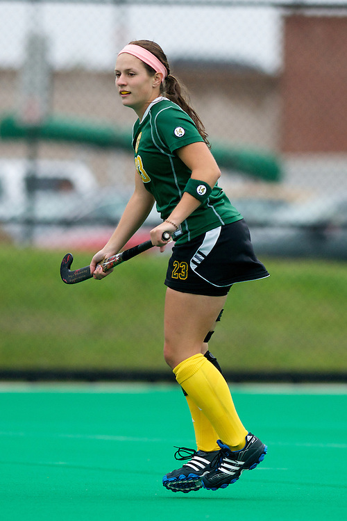 Catamounts midfielder Angie DeBellis (23) in action during the women's field hockey game between the Maine Black Bears and the Vermont Catamounts at Moulton/Winder Field on Saturday afternoon September 29, 2012 in Burlington, Vermont.