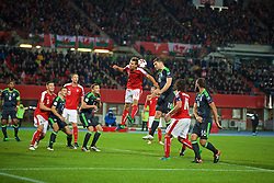 VIENNA, AUSTRIA - Thursday, October 6, 2016: Wales' Sam Vokes in action against Austria's Florian Klein during the 2018 FIFA World Cup Qualifying Group D match at the Ernst-Happel-Stadion. (Pic by David Rawcliffe/Propaganda)