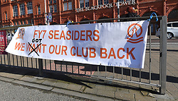 A banner on the seafront which reads FY7 Seasiders we got our club back
