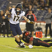10 September 2016: The San Diego State Aztecs football team hosts Cal in their second game of the season. San Diego State safety Kameron Kelly (7) makes an open field tackle on a punt return in the fourth quarter. The Aztecs beat Cal 45-40 to keep their win streak at 12 games going back to last season and improve their record to 2-0.