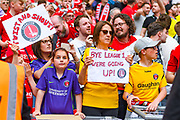 Charlton Athletic fans celebrate winning the play off trophy during the EFL Sky Bet League 1 play off final match between Charlton Athletic and Sunderland at Wembley Stadium, London, England on 26 May 2019.