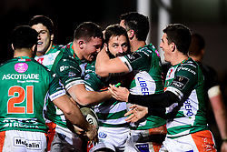 Guinness PRO14, Rodney Parade, Newport, UK 06/03/2020<br /> Dragons vs Benetton Rugby<br /> Angelo Esposito of Benetton Rugby celebrates scoring a try<br /> Mandatory Credit ©INPHO/Ryan Hiscott