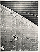 Photo showing numbered features around landing site landmarks, printed as a page from a study notebook.  Other markings are  likely the result of image processing irregularities.