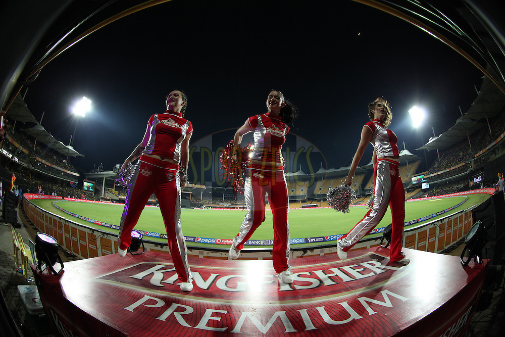 Cheargils performing during match 24 of the Pepsi IPL 2015 (Indian Premier League) between The Chennai Superkings and The Kings XI Punjab held at the M. A. Chidambaram Stadium, Chennai Stadium in Chennai, India on the 25th April 2015.<br /> <br /> Photo by:  Saikat Das / SPORTZPICS / IPL