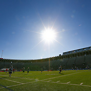 The sun shines prior to the game at Harvard Stadium on May 17, 2014 in Boston, Massachuttes. (Photo by Elan Kawesch)