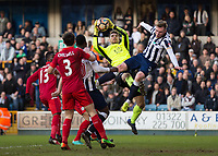 Football - 2016 / 2017 FA Cup - Fifth Round: Millwall vs. Leicester City <br /> <br /> Aiden O'Brien of Millwall and Ron-Robert Zieler of Leicester City in an aerial duel at The Den<br /> <br /> COLORSPORT/DANIEL BEARHAM