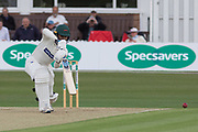 Hassan Azad drives during the Specsavers County Champ Div 2 match between Leicestershire County Cricket Club and Derbyshire County Cricket Club at the Fischer County Ground, Grace Road, Leicester, United Kingdom on 28 May 2019.