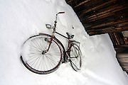 Bicycle in snow, Nellim, Finland