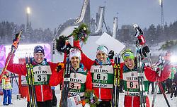 20.02.2016, Salpausselkae Stadion, Lahti, FIN, FIS Weltcup Nordische Kombination, Lahti, Team Sprint, Siegerehrung, im Bild Bernhard Gruber (AUT), Lukas Klapfer (AUT), Philipp Orter (AUT), Franz-Josef Rehrl (AUT) // f.l.: Bernhard Gruber of Austria, Lukas Klapfer of Austria, Philipp Orter of Austria, Franz-Josef Rehrl of Austria celebrate during Winner Award Ceremony Team Sprint Race of FIS Nordic Combined World Cup, Lahti Ski Games at the Salpausselkae Stadium in Lahti, Finland on 2016/02/20. EXPA Pictures © 2016, PhotoCredit: EXPA/ JFK