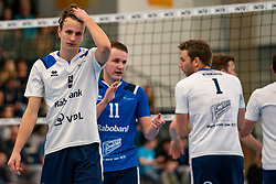 Yorick de Groot #5 of Sliedrecht Sport, Mart de Groot #11 of Sliedrecht Sport in action in the second round between Sliedrecht Sport and Draisma Dynamo on February 29, 2020 in sports hall de Basis, Sliedrecht
