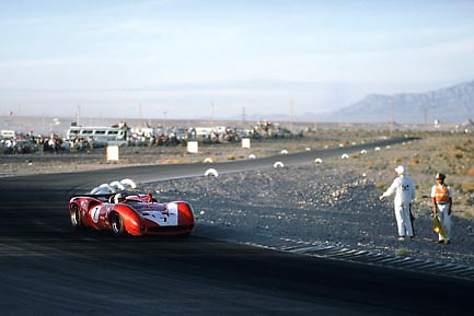 "John Surtees, Lola T70, winning 1967 Las Vegas (""Stardust"") Can-Am"