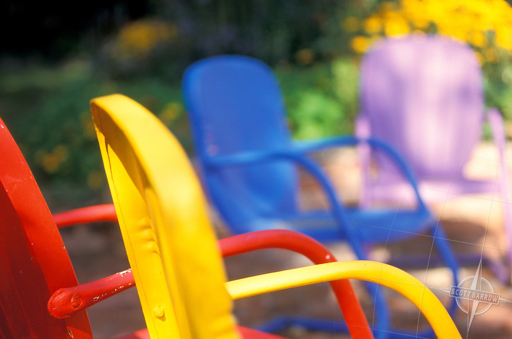 Colorful metal outdoor chairs
