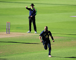 Jeetan Patel of Warwickshire celebrates the wicket of Ryan Davies.  - Mandatory by-line: Alex Davidson/JMP - 29/08/2016 - CRICKET - Edgbaston - Birmingham, United Kingdom - Warwickshire v Somerset - Royal London One Day Cup semi final