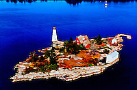 Aerial view of Rock island Lighthouse, 1000 Island New York
