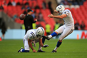 Adam Vinatieri of Indianapolis Colts warms up during the International Series match between Indianapolis Colts and Jacksonville Jaguars at Wembley Stadium, London, England on 2 October 2016. Photo by Jason Brown.