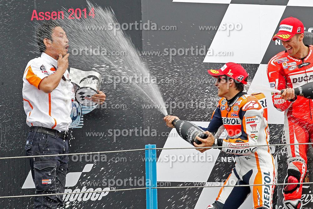23.09.2012, TT Circuit, Assen, NED, MotoGP, Assen, im Bild Marc Marquez, Andrea Dovizioso // during the MotoGP Iveco TT Assen at the TT Circuit in Assen, Netherlands on 2012/09/23. EXPA Pictures &copy; 2014, PhotoCredit: EXPA/ Eibner-Pressefoto/ FOTO-SPO_AG<br /> <br /> *****ATTENTION - OUT of GER*****