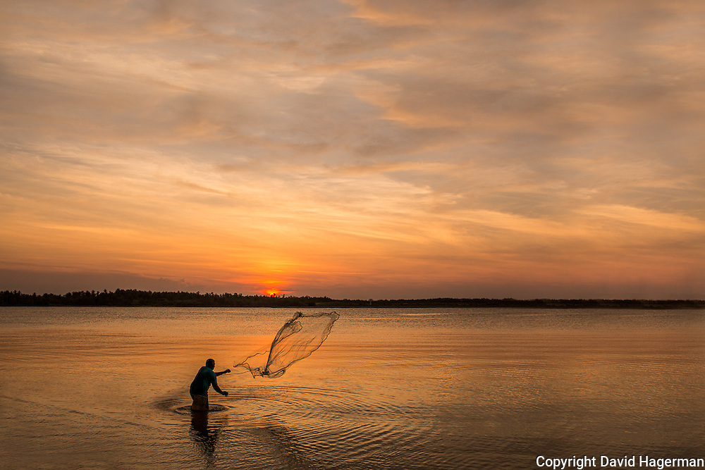 Net fishing at sunset outside Kota Bharu, Kelantan