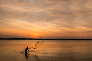 Net fishing at sunset outside Kota Bharu, Kelantan