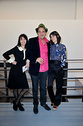Left to right, KARMA NABULSI, GERRY FOX and BELLA FREUD  at the Hopes & Dreams Private View - a film installation by Gerry Fox for The Hoping Foundation held at Sadie Coles Gallery, 4 New Burlington Place, London