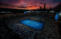 January 26, 2019 - Melbourne, VIC, U.S. - MELBOURNE, VIC - JANUARY 26: sunsets over. NAOMI OSAKA (JPN) and PETRA KVITOVA (CZE) during day thirteen match of the 2019 Australian Open on January 26, 2019 at Melbourne Park Tennis Centre Melbourne, Australia (Photo by Chaz Niell/Icon Sportswire (Credit Image: © Chaz Niell/Icon SMI via ZUMA Press)