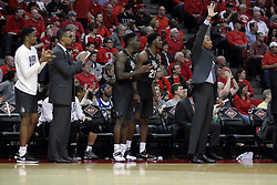 20 March 2017:  Knights bench during a College NIT (National Invitational Tournament) 2nd round mens basketball game between the UCF (University of Central Florida) Knights and Illinois State Redbirds in  Redbird Arena, Normal IL<br /> <br /> Jamill Jones on right