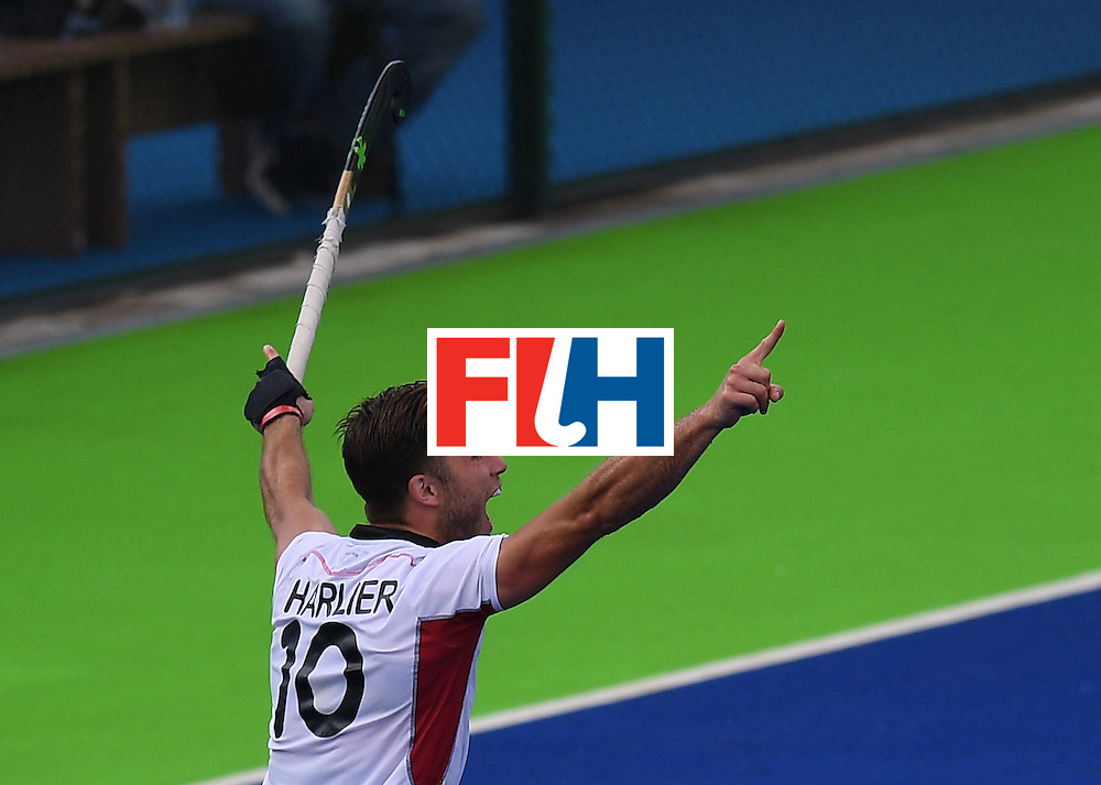 Belgium's Cedric Charlier celebrates scoring a goal during the men's field hockey Spain vs Belgium match of the Rio 2016 Olympics Games at the Olympic Hockey Centre in Rio de Janeiro on August, 11 2016. / AFP / MANAN VATSYAYANA        (Photo credit should read MANAN VATSYAYANA/AFP/Getty Images)