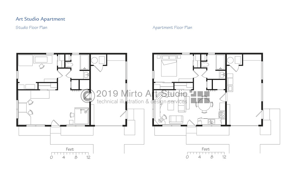 Architectural floor plan illustration of an art studio for Photography studio floor plans