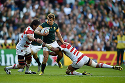 Patrick Lambie of South Africa takes on the Fiji defence - Mandatory byline: Patrick Khachfe/JMP - 07966 386802 - 19/09/2015 - RUGBY UNION - Brighton Community Stadium - Brighton, England - South Africa v Japan - Rugby World Cup 2015 Pool B.