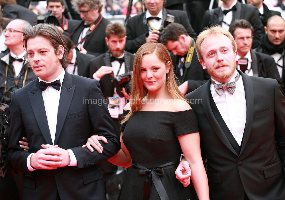 Benjamin Biolay, Elsa Canovas, Benoit Hamon, at the Foxcatcher gala screening red carpet at the 67th Cannes Film Festival France. Monday 19th May 2014 in Cannes Film Festival, France.