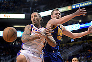 Apr 5, 2013; Phoenix, AZ, USA; Golden State Warriors forward David Lee (10) and the Phoenix Suns forward Michael Beasley (0) reach for a rebound in the first half at US Airways Center. Mandatory Credit: Jennifer Stewart-USA TODAY Sports