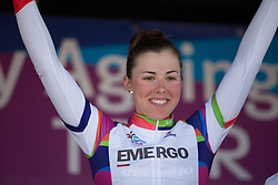 Lisa Klein (GER) of Cervélo-Bigla Cycling Team won the Best Young Rider's white jersey after Stage 5 of the Healthy Ageing Tour - a 117.9 km road race, starting and finishing in Borkum on April 9, 2017, in Groeningen, Netherlands.