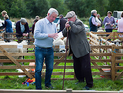 © Licensed to London News Pictures.29/08/15<br /> Bilsdale, UK. <br /> <br /> Two stewards discuss the sheep judging during the 105th Bilsdale Country Show in North Yorkshire.<br /> <br /> Photo credit : Ian Forsyth/LNP