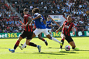 Steve Cook (3) of AFC Bournemouth tackles Moise Kean (27) of Everton to prevent the Everton player from shooting at goal during the Premier League match between Bournemouth and Everton at the Vitality Stadium, Bournemouth, England on 15 September 2019.
