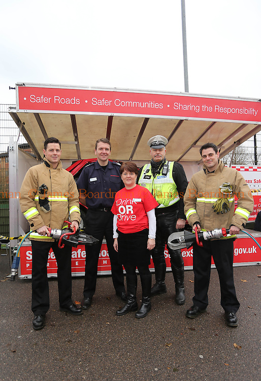 JAMES BOARDMAN / 07967642437<br /> L-R Dan Wright, Gavin Watts [Ass Chief Fire Officer] Sarah Adams, Phil Barrow [Police Casualty Reduction Team] and Firefighter Tim Taylor all part of the  'drink or drive' campaign being promoted by The Fire and Police services and the Sussex Safer Roads Partnership, at the Checkatrade.com Stadium in Crawley. December 14, 2013.