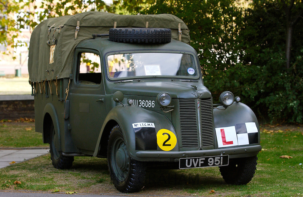 "A close-up of a truck identical to the one driven by members of the Auxiliary Territorial Service (ATS) during the war.  It features in the ""Women At War"" exhibition at the Imperial War Museum sponsored by  the Oshkosh Truck Corporation."
