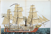Transitional ship.  Sectional view of vessel fitted with both sails and a steam engine driving a screw. From 'Physics in Pictures' by Theodore Eckardt. (London, 1886). Chromolithograph.