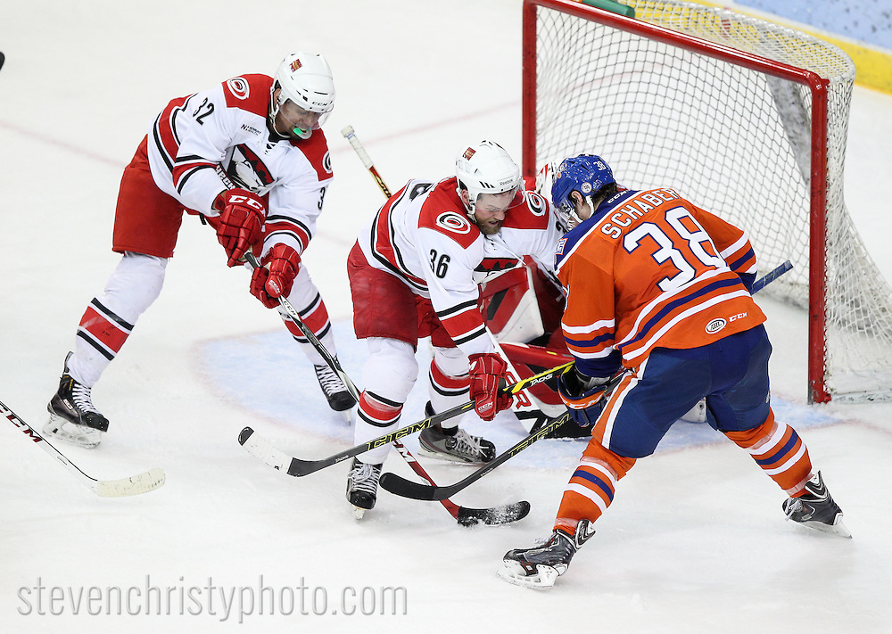 March 15, 2015: The Oklahoma City Barons play the Charlotte Checkers in an American Hockey League game at the Cox Convention Center in Oklahoma City.