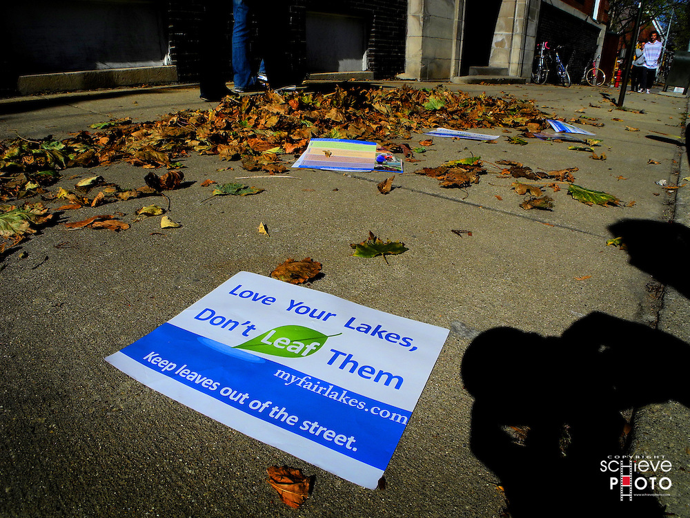 Leaflets informing Madison residents to NOT put their leaves in the street are scattered all over the street.