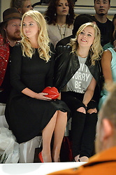 Left to right, MARISSA MONTGOMERY and POPPY JAMIE at the Gyunel Spring Summer 2015 fashion show as part of London Fashion week 2015 held at Victoria House, Bloomsbury Square, London on 12th September 2014.