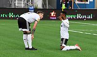 Fotball Menn Eliteserien Ranheim-Rosenborg<br /> Extra Arena, Ranheim<br /> 4 juli 2019<br /> <br /> Rosenborgs Samuel Adegbenro (H) har scoret 0-1 for Rosenborg og feirer på sin måte. Alexander Søderlund til venstre<br /> <br /> <br /> Foto : Arve Johnsen, Digitalsport