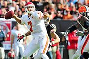 Sept. 19, 2010; Cleveland, OH, USA; Kansas City Chiefs quarterback Matt Cassel (7) during the fourth quarter against the Cleveland Browns at Cleveland Browns Stadium. Mandatory Credit: Jason Miller-US PRESSWIRE