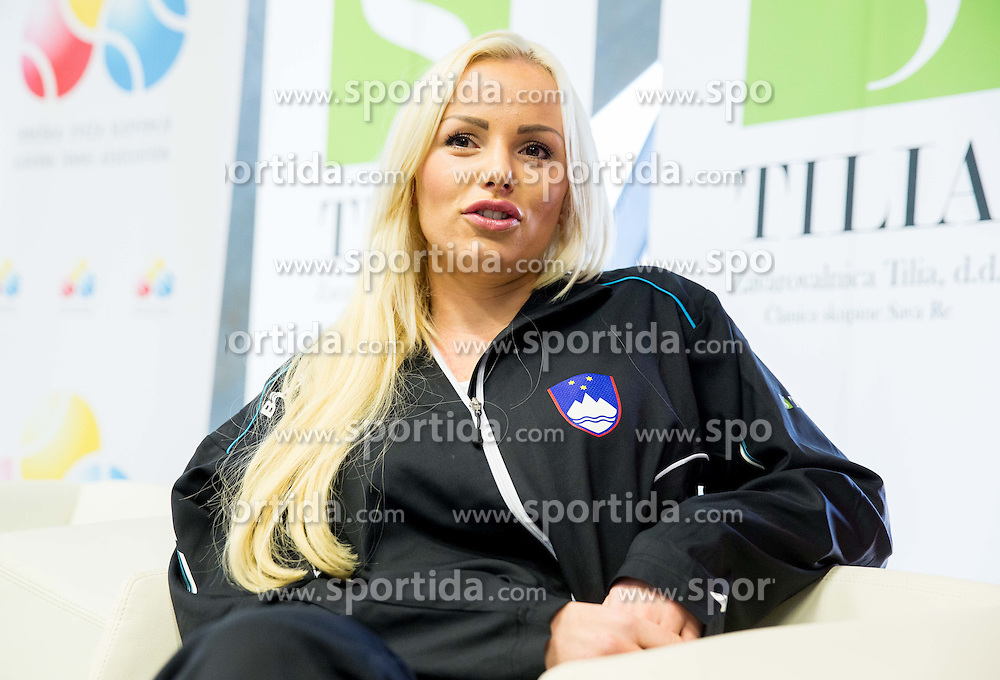 Tadeja Majeric during press conference of Slovenian women Tennis team before Fed Cup tournament in Tallinn, Estonia, on January 28, 2015 in Kristalna palaca, Ljubljana, Slovenia. Photo by Vid Ponikvar / Sportida