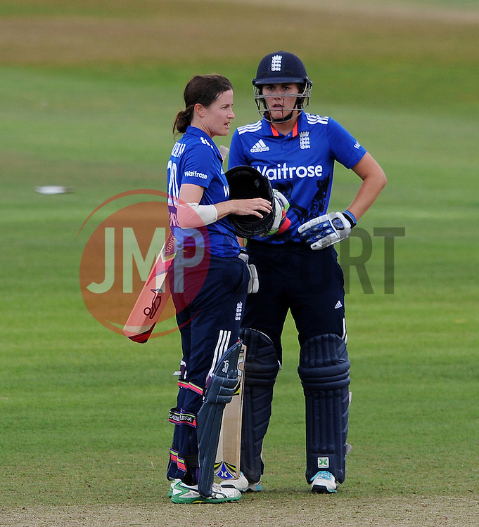 England's Lydia Greenway and Natalie Sciver - Photo mandatory by-line: Harry Trump/JMP - Mobile: 07966 386802 - 21/07/15 - SPORT - CRICKET - Women's Ashes - Royal London ODI - England Women v Australia Women - The County Ground, Taunton, England.