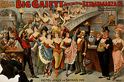 Rice and Barton's Big Gaiety Spectacular Extravaganza Co. c1899. (poster) : lithograph depicting the cast of a variety show in a US theatre. Cowboys, Chorus girls, Comedians and musicians are shown