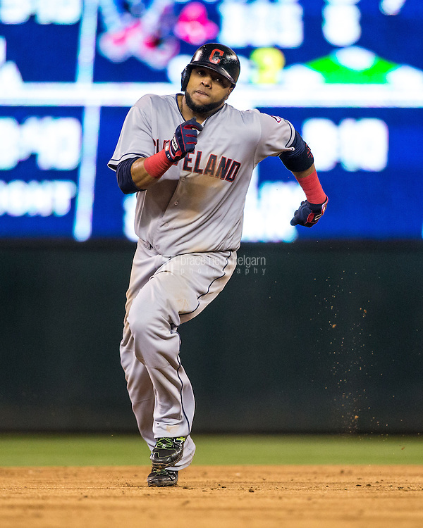 MINNEAPOLIS, MN- APRIL 27: Carlos Santana #41 of the Cleveland Indians runs against the Minnesota Twins on April 27, 2016 at Target Field in Minneapolis, Minnesota. The Indians defeated the Twins 6-5. (Photo by Brace Hemmelgarn) *** Local Caption *** Carlos Santana
